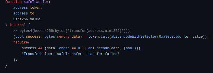 safeTransfer code